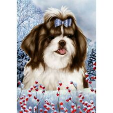 Winter House Flag - Brown and White Shih Tzu 15175