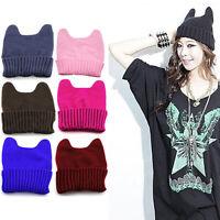 HN- Women Girl Warm Cute Cat Ear Winter Knitted Beanie Ski Cap Soft Chic Hat Wel
