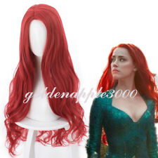 Film Aquaman Mera Amber Heard Prop Queen of Atlantis Cosplay Wig Party Wigs