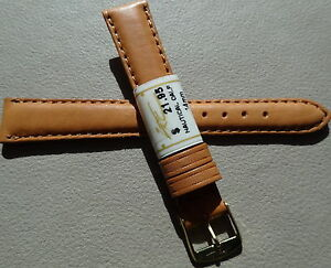 ZRC Ladies Made in France Honey Natural Calf 14mm Watch Band Gold Tone Buckle