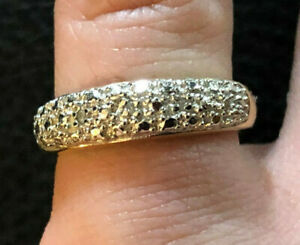 Gold Sterling Silver Ring Diamond Accent Band .03 Cts Sz 6 2.7g 925 #1118