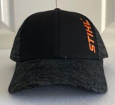 Stihl Space Dye Black and Charcoal Fabric Hat / Cap with Orange Stitching