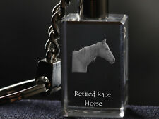 Cheval de course à la retraite, porte-clés, en cristal, Crystal Animals FR