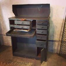 PRIMITIVE / INDUSTRIAL TURN OF THE CENTURY JEWELERS WORK BENCH WITH A STORY .
