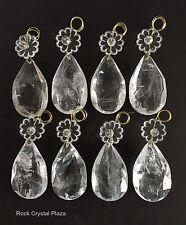 Rock Crystal Quartz Chandelier Pendant Parts Prisms Full Cut W rosette 100mm 8pc