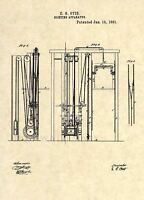 Official Otis Elevator US Patent Art Print - Vintage 1861 Antique Original -277