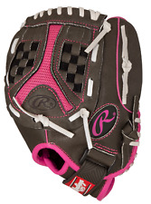 GIRLS Left Hand LEATHER SOFTBALL GLOVE Pink Grey 11.5-Inch Fast Pitch Infield