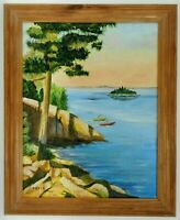 "M.JANE DOYLE SIGNED ORIGINAL ART OIL/CANVAS PAINTING ""MAINE""(SEASCAPE/KAYAKS)FR."