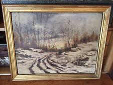 Huile sur bois, paysage de neige, signé Eugen Drouet