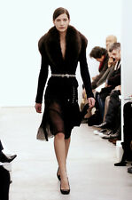 Balenciaga Paris Black Pleated sheer Nicolas Ghesquière catwalk skirt 36 UK 6