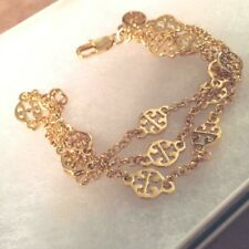 TORY BURCH GOLD MULTI STRAND  CHAIN BRACELET with POUCH + GIFT BOX