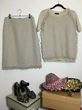 =CLASSY= LANVIN Cream Textured Tweed Wool Knitted Sweater Top Skirt Suit Set US6