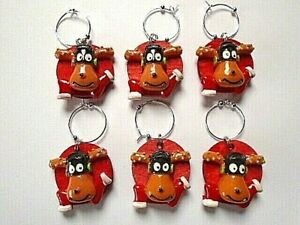 Wine Glass Charms Set of 6 Rudolph Reuseable Christmas Drinks red Charms Xmas UK
