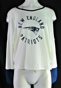 New England Patriots NFL Touch Women's Cream Cold Shoulder Long Sleeve Top