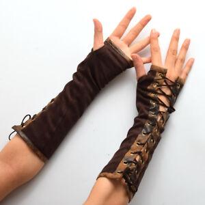 Lolita Steampunk Vintage Women's Armband Gloves Victorian Tie-Up Mittens Cosplay