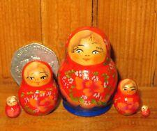 MINIATURE Matryoshka Russian nesting dolls RED BLUE Babushka 5 tiny Marchenko