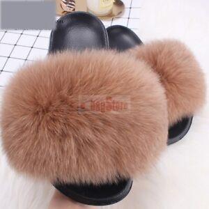 Fashion Women's Furry Fluffy Real Fox/Raccoon Fur Slides Slipper Shoes Sandals
