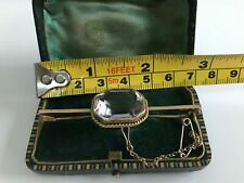 Solid 9ct Gold And Large Pale Amethyst Bar Brooch 7cm Original Box Antique