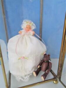 "2"" Miniature Dollhouse Doll Baby in Christening Dress + Teddy Bear Glass Case"
