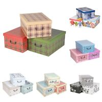 3x Stylish Colourful Underbed Shoes Cloths Toys Storage Boxes with Lid & Handles