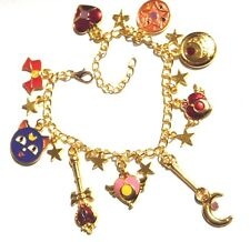 SAILOR MOON CHARM BRACELET gold stars scepter locket Luna P anime manga R3