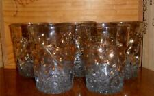 Victorian Flower & Diamond Tumblers EAPG 1913 Gold Flash Set of 5 US Glass Co.