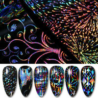 Holografisch Nagel Folien Aufkleber Nail Art Transfer Stickers 3D Dekoration
