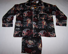 Looney Tunes Taz Devil Boys Black Flannel Pyjama Set Size 3 New
