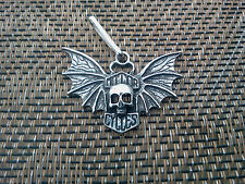 GOTHIC BIKERS MOTORCYCLE 1 SKULL with Bat Wings ZIPPER  PULL or PENDANT All NEW.