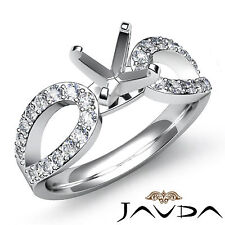 Diamond Engagement Ring Solitaire Style Round Semi Mount Platinum 950 0.45Ct