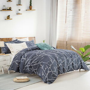 Reversible Leaves Doona Duvet Quilt Cover Set King Size Bedding Linen Pillowcase