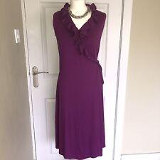 BODEN Purple Aubergine Stretch Jersey Wrap Ruffle Dress Sz 14 Long Tall