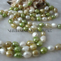 "56"" 6-8mm White Champagne Green Baroque Freshwater Pearl Necklace Z  U"