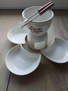 Schokoladenfondue Set für 3 Personen OVP mit 3 Gabeln, vollständig, für Teelicht