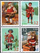 1995 32c Christmas Santa & Children, Block of 4 Scott 3004-07 Mint F/VF NH