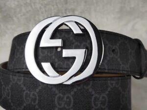Gucci Belt - Black Strap, Silver Buckle