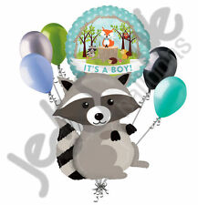 7 pc Woodland Raccoon It's a Baby Boy Animals Balloon Bouquet Party Decoration