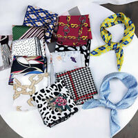 Women Square Satin Scarf Head Neck Scarf Bandana Hair Tie Band Wrap Handkerchief