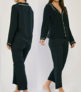 Ladies Black Pyjamas Set Long Sleeve Button Up Womens Loungewear Size UK 8 10 12
