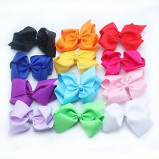 12pcs 5 Inch Large Bow-knot Baby Girls toddler Bows Hair Clips Alligator Clips