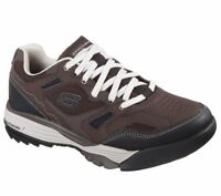 Hiking  Brown Skechers Shoes Men's Memory Foam Sporty Comfort 51800 BRBK Leather