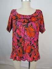 Notations Petite Womens Cotton Pink Orange Floral Ruffled Short Sleeve Top sz PM