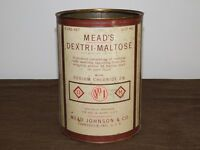 "VINTAGE EARLY BABY FOOD 8 1/2"" MEAD JOHNSON & CO DEXTRI-MALTOSE TIN CAN *EMPTY*"
