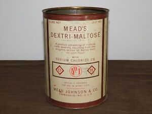 """VINTAGE EARLY BABY FOOD 8 1/2"""" MEAD JOHNSON & CO DEXTRI-MALTOSE TIN CAN *EMPTY*"""