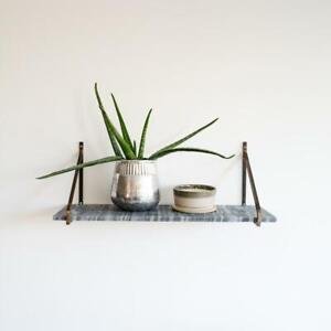 Grey Myna Marble Shelf, Wall Mounted Brackets, Storage Kitchen Bedroom Living