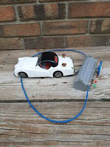 Vintage Tin Battery Operated Triumph TR3 Japan White Remote Control