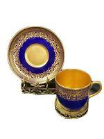 CAULDON tea cup and saucer Blue & gold demitasse teacup England TIFFANY &CO N❤Y
