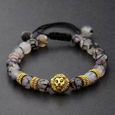 Lava Stone Lion Owl Skull Helmet Plated Beads Braided Macrame Men Bracelets Gift
