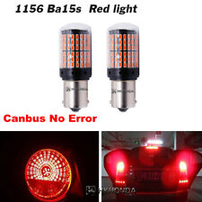 BA15S 2Pcs Red 144-SMD Light Bulbs Car Turn Signal LED Super Bright 12V-24V 1156