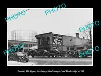 OLD LARGE HISTORIC PHOTO OF DETROIT MICHIGAN, THE HOLZBAUGH FORD DEALERSHIP 1940
